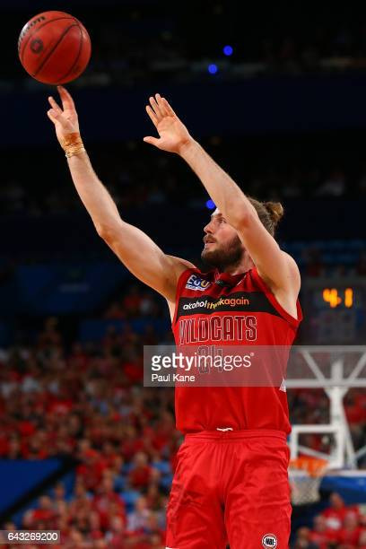 Jesse Wagstaff of the Wildcats puts a shot up during the game two NBL Semi Final match between the Perth Wildcats and Cairns Taipans at Perth Arena...
