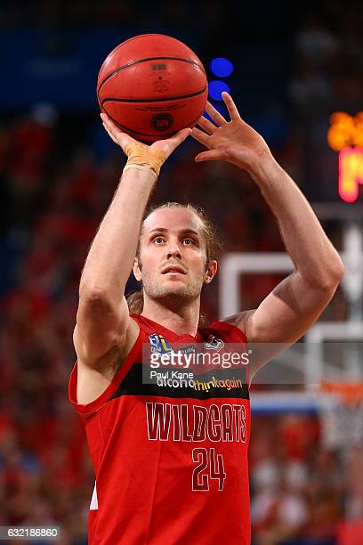 Jesse Wagstaff of the Wildcats shoots a free throw during the round 16 NBL match between the Perth Wildcats and the Cairns Taipans at Perth Arena on...