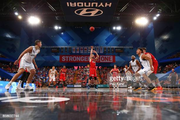 Jesse Wagstaff of the Wildcats shoots a free throw during the round one NBL match between the Perth Wildcats and the Brisbane Bullets at Perth Arena...