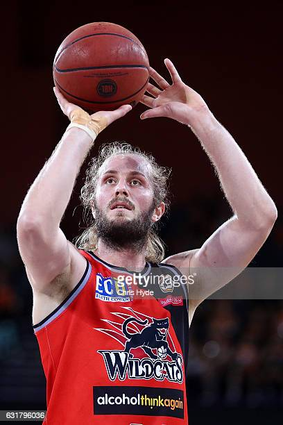 Jesse Wagstaff of the Wildcats shoots during the round 15 NBL match between the Cairns Taipans and the Perth Wildcats at Cairns Convention Centre on...