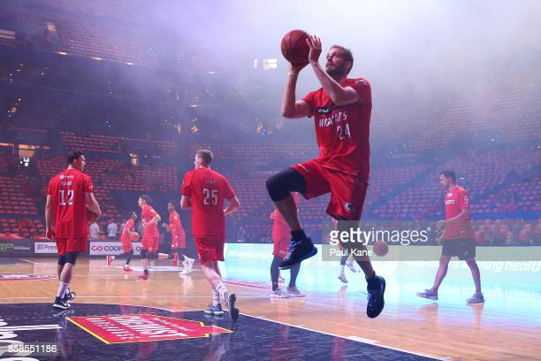 Jesse Wagstaff of the Wildcats warms up before the round one NBL match between the Perth Wildcats and the Brisbane Bullets at Perth Arena on October...