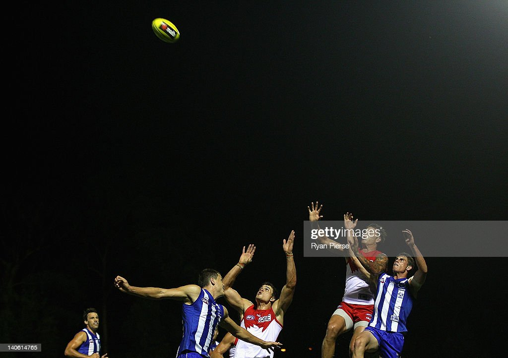 Jesse White of the Swans competes for the ball against Cameron Delaney of the Kangaroos during the round two NAB Cup AFL match between the Sydney Swans and the North Melbourne Kangaroos at Bruce Purser Oval on March 3, 2012 in Sydney, Australia.