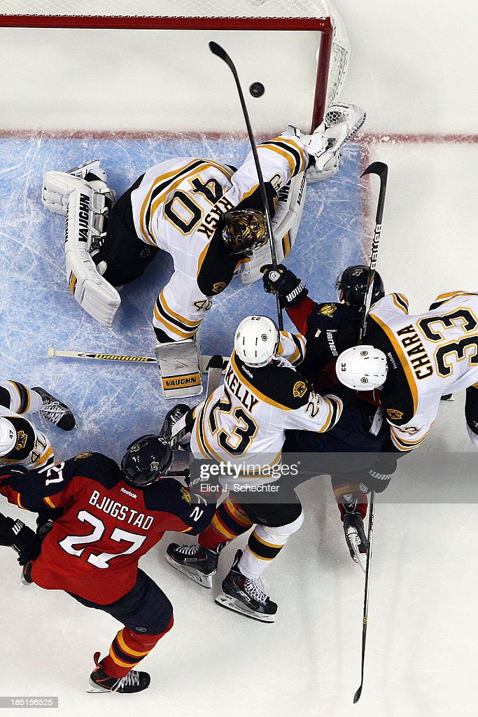 Jesse Winchester #17 of the Florida Panthers scores his first NHL goal against Goaltender <a gi-track='captionPersonalityLinkClicked' href=/galleries/search?phrase=Tuukka+Rask&family=editorial&specificpeople=716723 ng-click='$event.stopPropagation()'>Tuukka Rask</a> #40 of the Boston Bruins at the BB&T Center on October 17, 2013 in Sunrise, Florida.