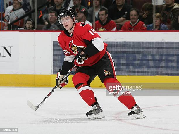 Jesse Winchester of the Ottawa Senators skates against the New York Islanders at Scotiabank Place on March 21 2009 in Ottawa Ontario Canada