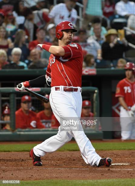 Jesse Winker of the Cincinnati Reds follows through on a swing against the Colorado Rockies at Goodyear Ballpark on March 10 2017 in Goodyear Arizona