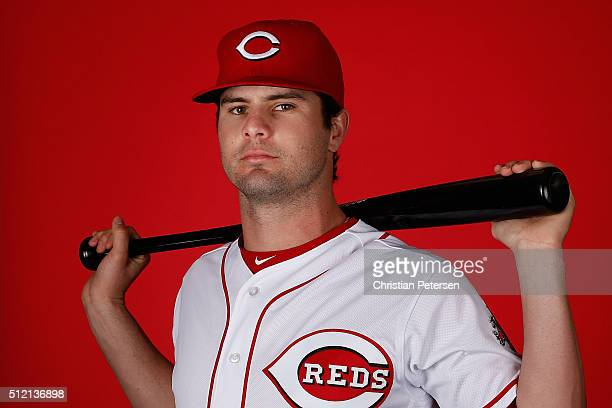 Jesse Winker of the Cincinnati Reds poses for a portrait during spring training photo day at Goodyear Ballpark on February 24 2016 in Goodyear Arizona