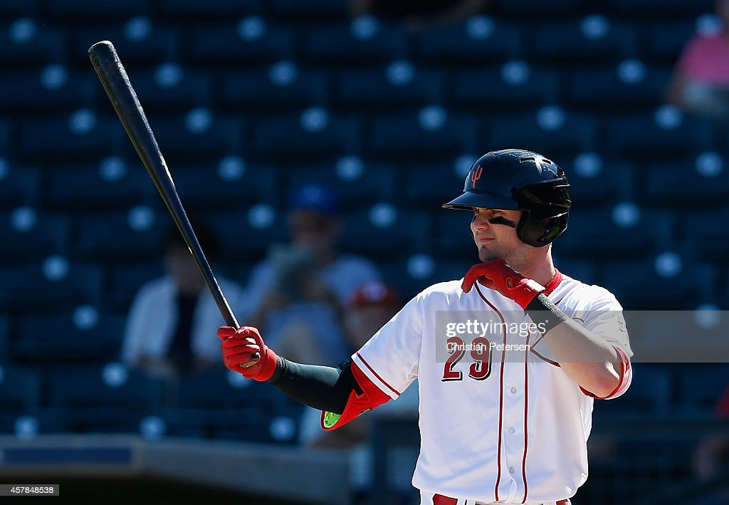 Jesse Winker #29 (Cincinnati Reds) of the Surprise Saguaros at bat during the Arizona Fall League game against the Mesa Solar Sox at Surprise Stadium on October 21, 2014 in Surprise, Arizona.