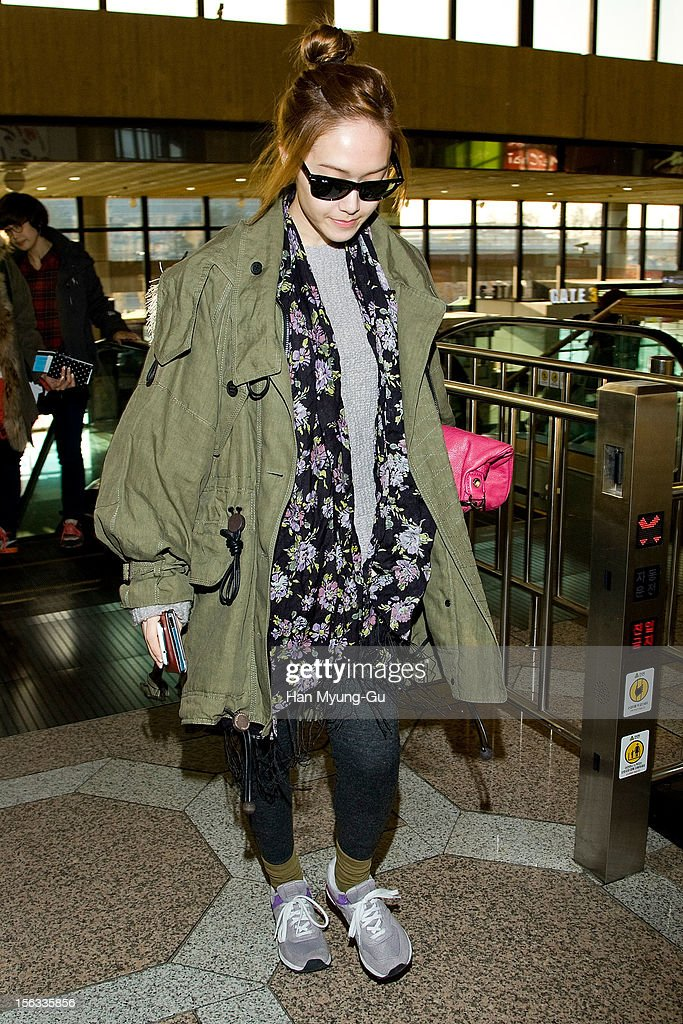Jessia of South Korean girl group Girls' Generation is seen at Gimpo International Airport on November 13, 2012 in Seoul, South Korea.