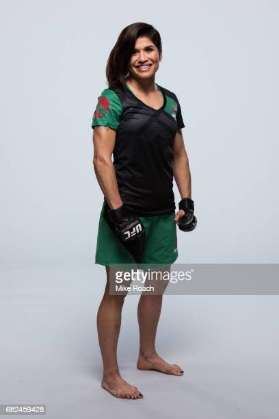Jessica Aguilar poses for a portrait during a UFC photo session inside the Sheraton Dallas Hotel on May 11 2017 in Dallas Texas
