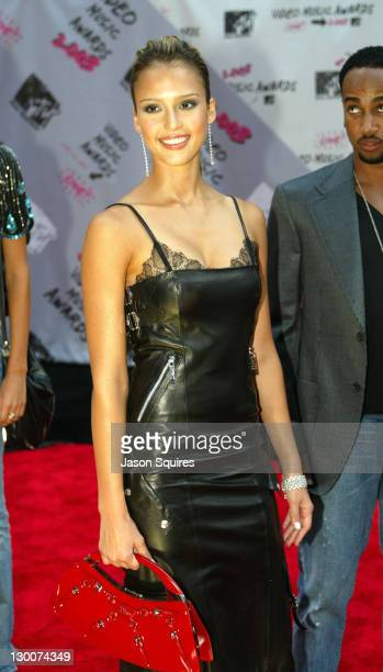 Jessica Alba and Belle Woodruff during 2003 MTV Video Music Awards Arrivals at Radio City Music Hall in New York City New York United States