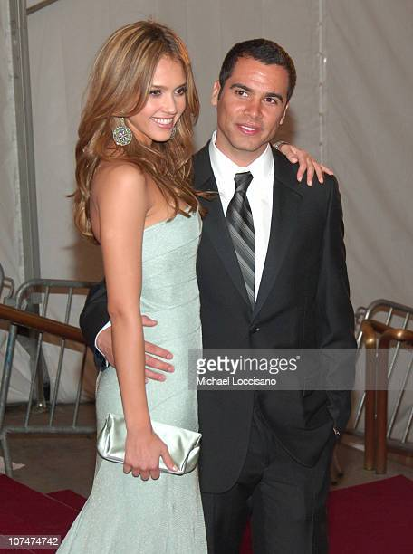 Jessica Alba and Cash Warren during 'AngloMania' Costume Institute Gala at The Metropolitan Museum of Art Departures Celebrating 'AngloMania...