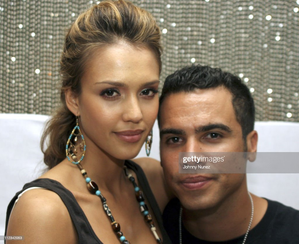 Jessica Alba and Cash Warren during Kanye West Hosts GOOD Music Pre Vma Party at Shore Club in Miami FL United States