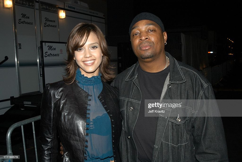 Jessica Alba and Chuck D during VH1 Big in 2002 Awards - Backstage and Audience at Grand Olympic Auditorium in Los Angeles, CA, United States.