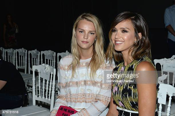 Jessica Alba and guest attend the Giambattista Valli show as part of Paris Fashion Week Haute Couture Fall/Winter 2015/2016 on July 6 2015 in Paris...