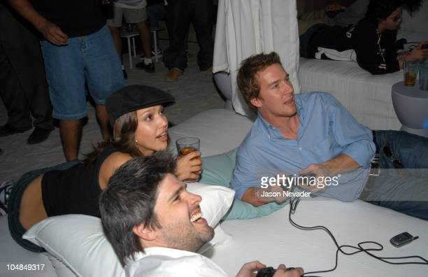 Jessica Alba and guests playing PlayStation2 during Sony Playstation 2 Game Over Party after the Super Bowl at W Hotel in San Diego California United...