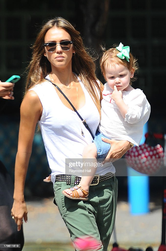 <a gi-track='captionPersonalityLinkClicked' href=/galleries/search?phrase=Jessica+Alba&family=editorial&specificpeople=201811 ng-click='$event.stopPropagation()'>Jessica Alba</a> and Haven Garner Warren are seen in Soho on September 6, 2013 in New York City.