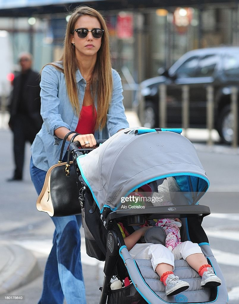 <a gi-track='captionPersonalityLinkClicked' href=/galleries/search?phrase=Jessica+Alba&family=editorial&specificpeople=201811 ng-click='$event.stopPropagation()'>Jessica Alba</a> and Haven Garner Warren are seen in Soho on September 9, 2013 in New York City.