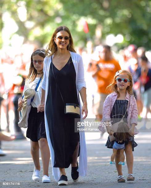Jessica Alba and her daughters seen in Manhattan on August 3 2017 in New York City