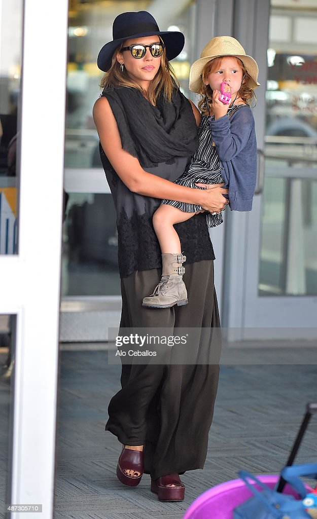 Jessica Alba and Honor Marie Warren are seen at JFK airport on September 8 2015 in New York City