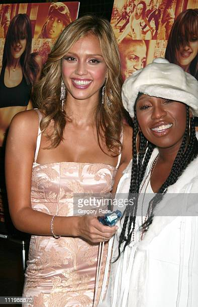 Jessica Alba and Missy Elliott during 'Honey' New York Premiere Inside Arrivals at Chelsea West Theater in New York City New York United States
