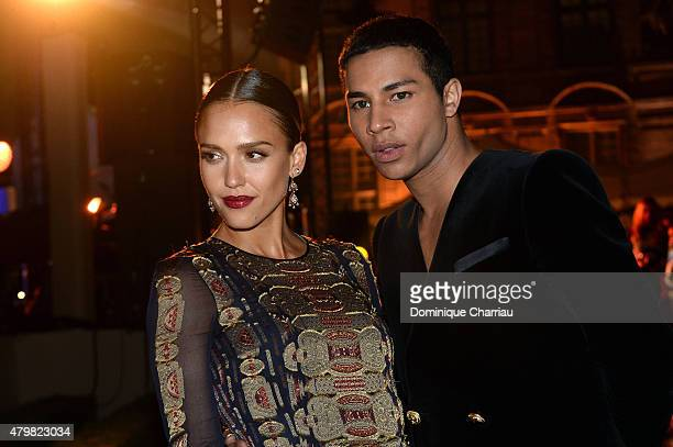 Jessica Alba and Olivier Rousteing attend Tory Burch Paris Flagship Opening after party on July 7 2015 in Paris France