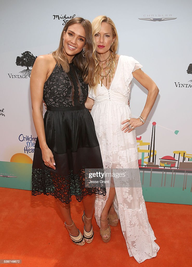 Jessica Alba and Rachel Zoe attend the Children Mending Hearts and Vintage Grocers Presents the 8th Annual 'Empathy Rocks' event on June 12 2016 in...