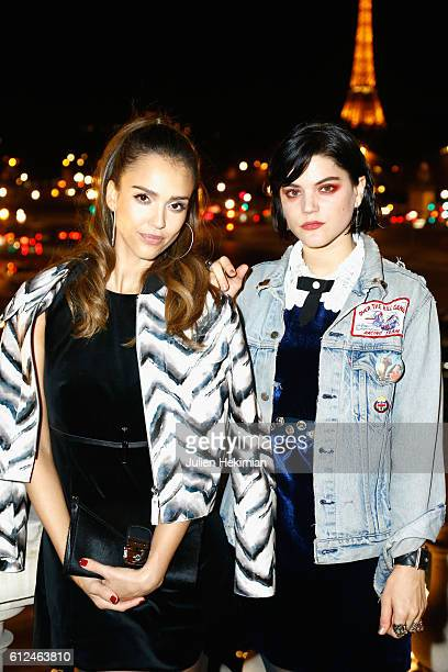 Jessica Alba and Soko attend the Lonchamp dinner as part of the Paris Fashion Week Womenswear Spring/Summer 2017 at Longchamp Boutique St Honore on...