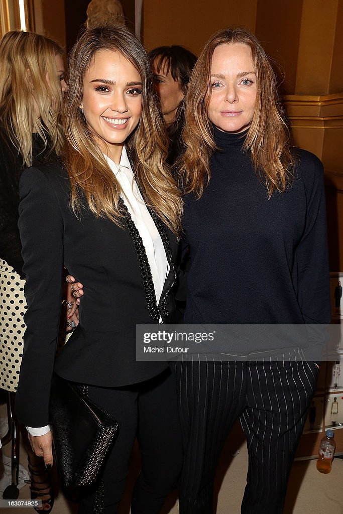 <a gi-track='captionPersonalityLinkClicked' href=/galleries/search?phrase=Jessica+Alba&family=editorial&specificpeople=201811 ng-click='$event.stopPropagation()'>Jessica Alba</a> (L) and Stella McCartney attend the Stella McCartney Fall/Winter 2013 Ready-to-Wear show as part of Paris Fashion Week on March 4, 2013 in Paris, France.