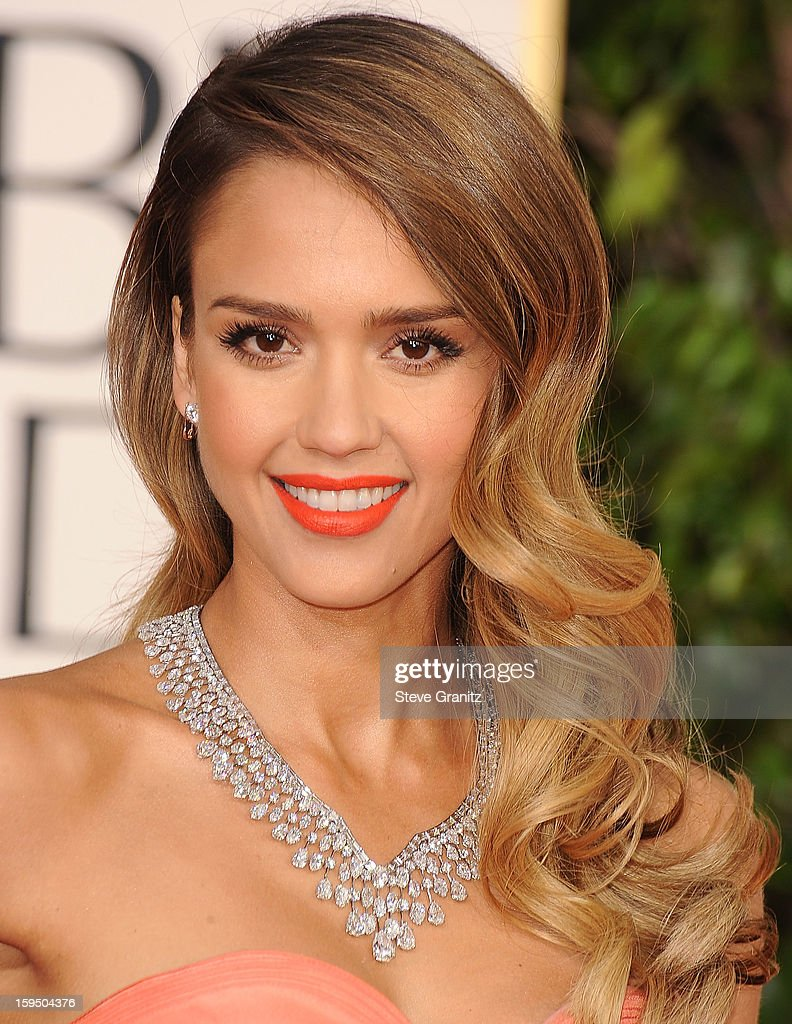 Jessica Alba arrives at the 70th Annual Golden Globe Awards at The Beverly Hilton Hotel on January 13, 2013 in Beverly Hills, California.