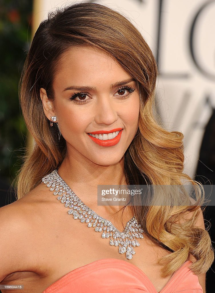 Jessica Alba arrives at the 70th Annual Golden Globe Awards at The Beverly Hilton Hotel on January 13 2013 in Beverly Hills California