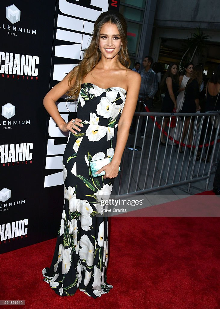Jessica Alba arrives at the Premiere Of Summit Entertainment's 'Mechanic Resurrection' at ArcLight Hollywood on August 22 2016 in Hollywood California