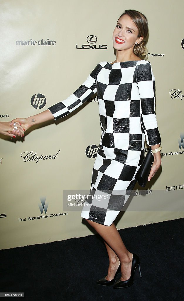 <a gi-track='captionPersonalityLinkClicked' href=/galleries/search?phrase=Jessica+Alba&family=editorial&specificpeople=201811 ng-click='$event.stopPropagation()'>Jessica Alba</a> arrives at The Weinstein Company's 2013 Golden Globes after party held at The Beverly Hilton Hotel on January 13, 2013 in Beverly Hills, California.