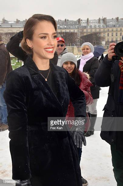 Jessica Alba attends The Christian Dior Outside Arrivals Paris Fasshion Week HauteCouture Spring/Summesr 2013 at Espace Ephemere des Tuileries on...