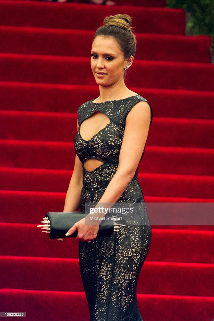 <a gi-track='captionPersonalityLinkClicked' href=/galleries/search?phrase=Jessica+Alba&family=editorial&specificpeople=201811 ng-click='$event.stopPropagation()'>Jessica Alba</a> attends the Costume Institute Gala for the 'PUNK: Chaos to Couture' exhibition at the Metropolitan Museum of Art on May 6, 2013 in New York City.