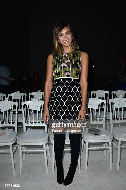 Jessica Alba attends the Giambattista Valli show as part of Paris Fashion Week Haute Couture Fall/Winter 2015/2016 on July 6 2015 in Paris France