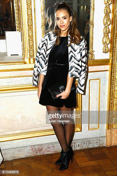 Jessica Alba attends the Lonchamp dinner as part of the Paris Fashion Week Womenswear Spring/Summer 2017 at Longchamp Boutique St Honore on October 4...