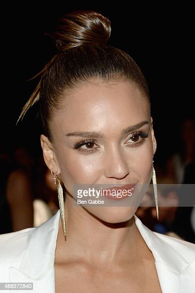 Jessica Alba attends the Narciso Rodriguez Spring 2016 fashion show during New York Fashion Week at SIR Stage 37 on September 15 2015 in New York City