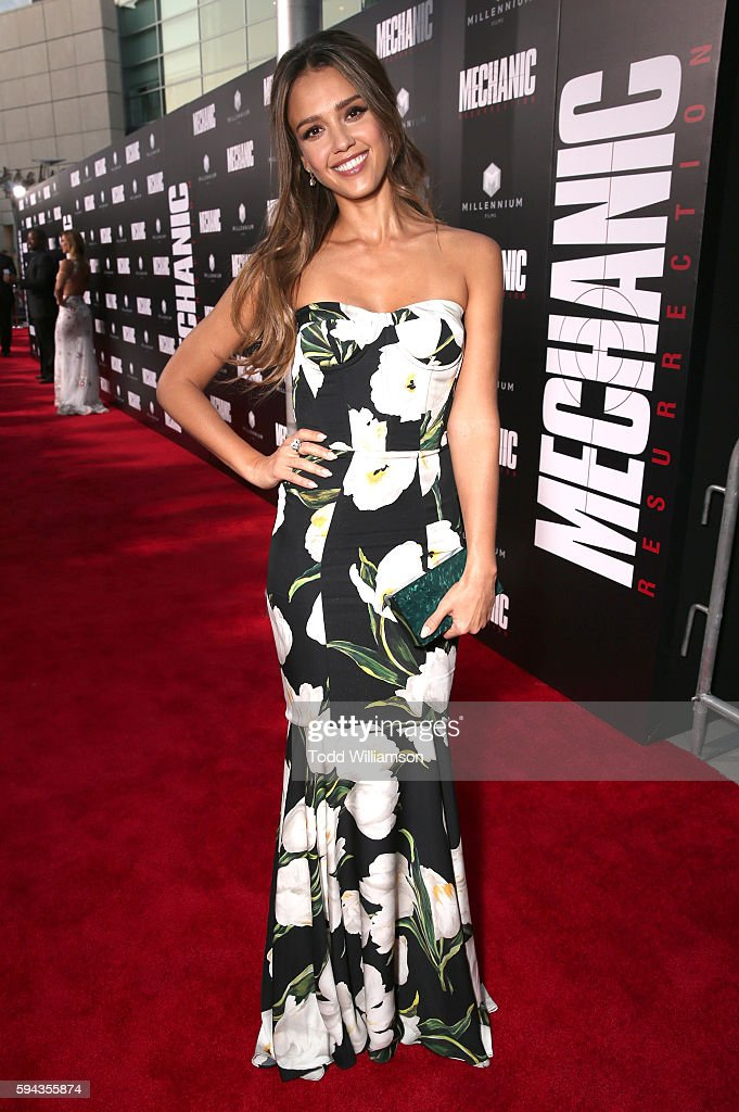 Jessica Alba attends the Premiere Of Lionsgate Summit Premiere's 'Mechanic Resurrection' at ArcLight Hollywood on August 22 2016 in Hollywood...