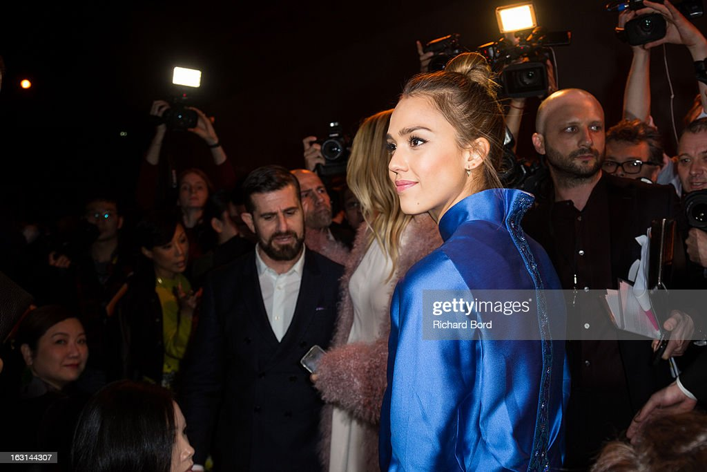 <a gi-track='captionPersonalityLinkClicked' href=/galleries/search?phrase=Jessica+Alba&family=editorial&specificpeople=201811 ng-click='$event.stopPropagation()'>Jessica Alba</a> attends the Shiatzy Chen Fall/Winter 2013 Ready-to-Wear show as part of Paris Fashion Week at Le Grand Palais on March 5, 2013 in Paris, France.