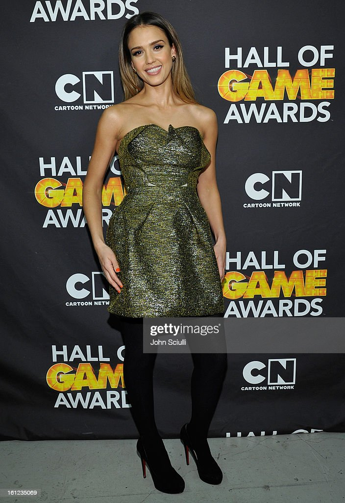 Jessica Alba attends the Third Annual Hall of Game Awards hosted by Cartoon Network at Barker Hangar on February 9 2013 in Santa Monica California...