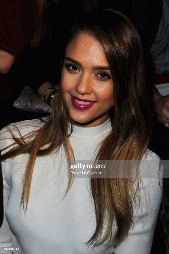 <a gi-track='captionPersonalityLinkClicked' href=/galleries/search?phrase=Jessica+Alba&family=editorial&specificpeople=201811 ng-click='$event.stopPropagation()'>Jessica Alba</a> attends the Valentino Fall/Winter 2013 Ready-to-Wear show as part of Paris Fashion Week on March 5, 2013 in Paris, France.