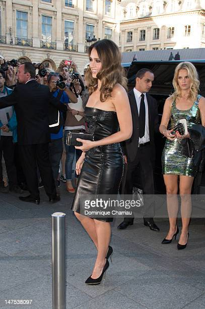 Jessica Alba attends the Versace HauteCouture show as part of Paris Fashion Week Fall / Winter 2012/13 at the Ritz hotel on July 1 2012 in Paris...