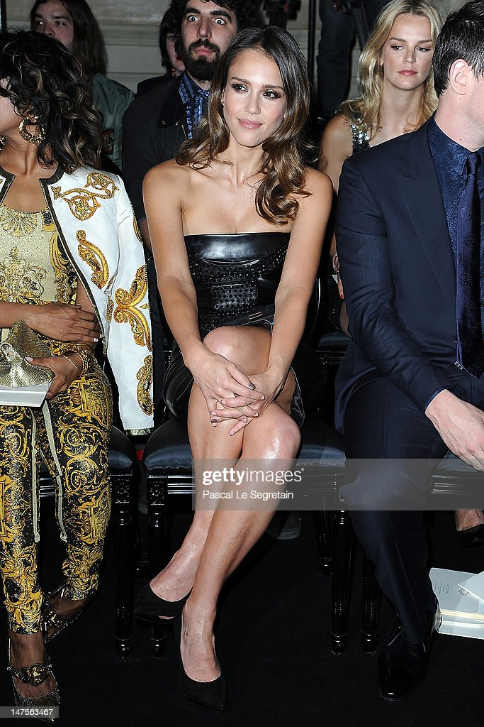 Jessica Alba attends the Versace Haute-Couture show as part of Paris Fashion Week Fall / Winter 2012/13 at the Ritz hotel on July 1, 2012 in Paris, France.