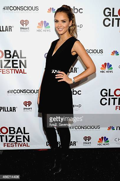 Jessica Alba attends VIP Lounge at the 2014 Global Citizen Festival to end extreme poverty by 2030 in Central Park on September 27 2014 in New York...