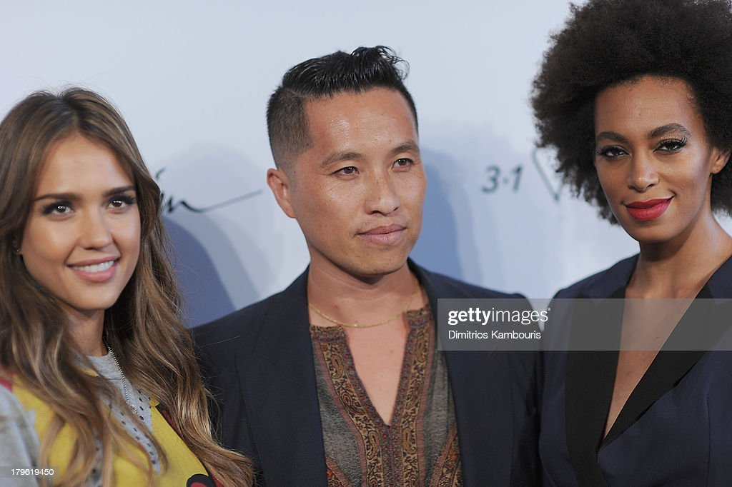 <a gi-track='captionPersonalityLinkClicked' href=/galleries/search?phrase=Jessica+Alba&family=editorial&specificpeople=201811 ng-click='$event.stopPropagation()'>Jessica Alba</a>, designer Phillip Lim and <a gi-track='captionPersonalityLinkClicked' href=/galleries/search?phrase=Solange+Knowles&family=editorial&specificpeople=221489 ng-click='$event.stopPropagation()'>Solange Knowles</a> attend the 3.1 Phillip Lim for Target Launch Event at Spring Studio on September 5, 2013 in New York City.
