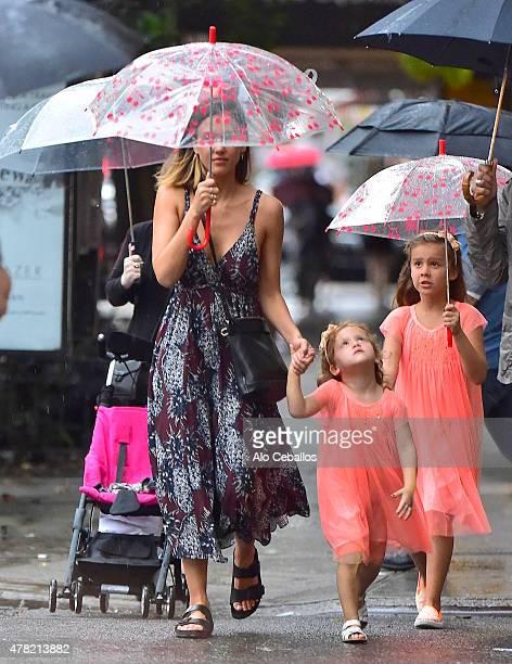 Jessica Alba Honor Marie Warren and Haven Garner Warren are seen in Soho on June 23 2015 in New York City