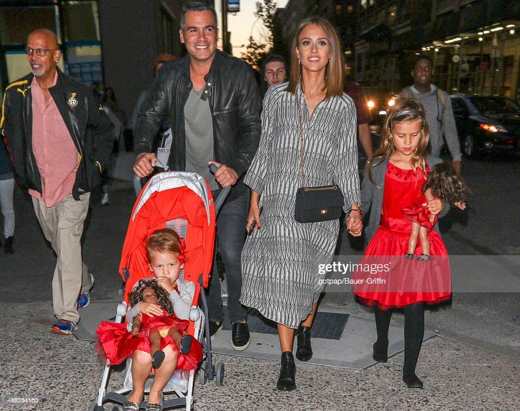 Jessica Alba husband Cash Warren and their children Honor Marie Warren and Haven Garner Warren are seen on September 14 2015 in New York City
