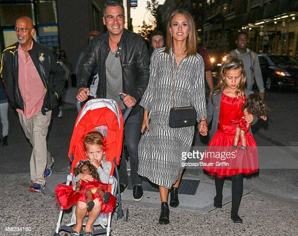 Jessica Alba husband Cash Warren and their children Honor Marie Warren and Haven Garner Warren are seen on September 14 2015 in New York City
