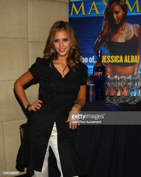 Jessica Alba in a Louis Verdad Dress during SKYY Vodka and Maxim Magazine Party hosted by Jessica Alba at Le Dome in Los Angeles California United...