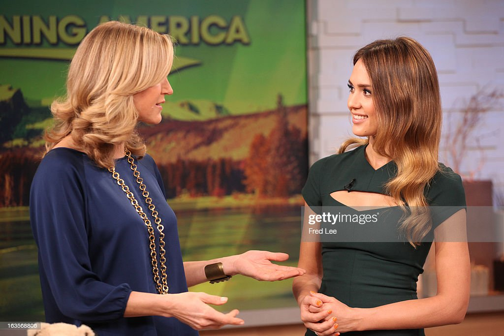 AMERICA - Jessica Alba is a guest on 'Good Morning America,' 3/12/13, airing on the ABC Television Network. (Photo by Fred Lee/ABC via Getty Images)LARA SPENCER, JESSICA ALBA